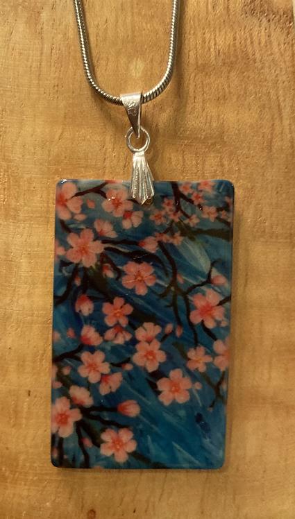 Rectangular Natural Shell Cherry Blossom Necklace