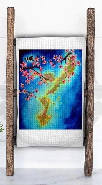 Island with Cherry Blossom Tea Towel