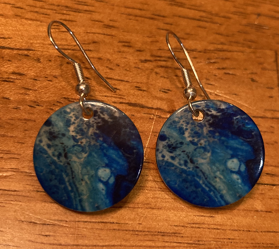 Ocean Blues on a Natural Shell Earrings