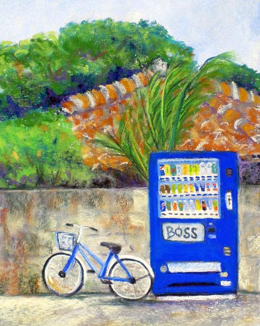 Blue Vending Machine with Bike