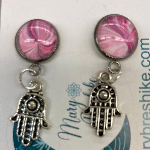 Hamsa Cherry Blossom Pink Earrings