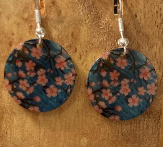 Cherry Blossom Earrings on natural shell