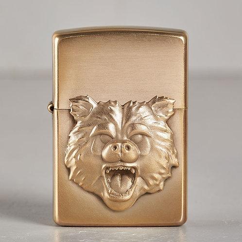 ZIPPO Bärenkopf | hart auf hart | bronze
