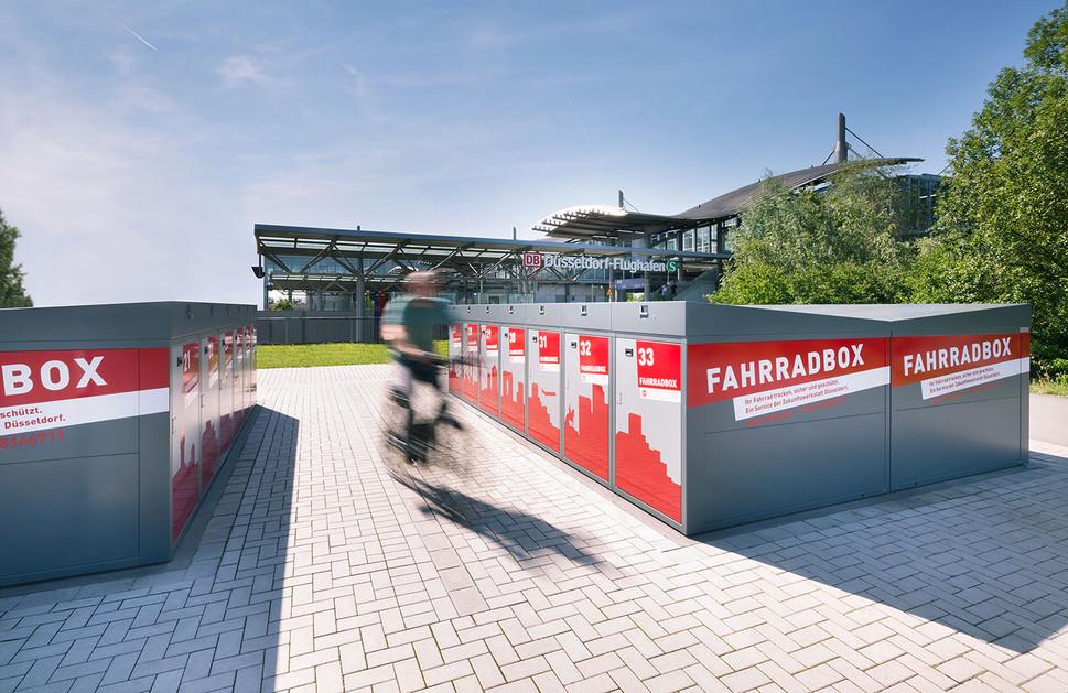Architekturfotografie |  Fahrradboxen am Düsseldorfer Flughafen für ZIEGLER AG
