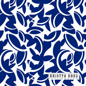 MIDCENTURY LEAVES IN BLUE & WHITE