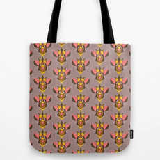 Bizarro Beetle in Pink, Yellow and Mauve Tote