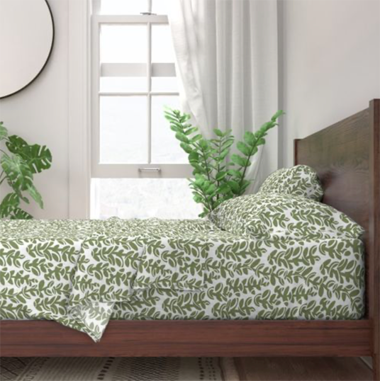 Midcentury Vines in Sage and White Bed Sheets