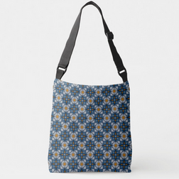 Moroccan Stars in Blue Gray and Yellow Crossbody Bag
