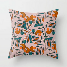 Midcentury Geometric Abstract in Mauve.t