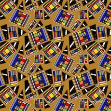 Geometric Rainbow Box on Gold