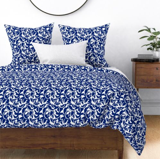 Midcentury Leaves in Blue and White Duvet