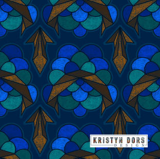 ABSTRACT ELECTRIC SCALLOP IN BLUE & GREEN