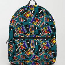 Geometric Rainbow Box on Teal Backpack