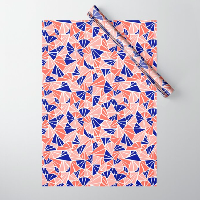 Coral and Blue Geometric Wrapping Paper