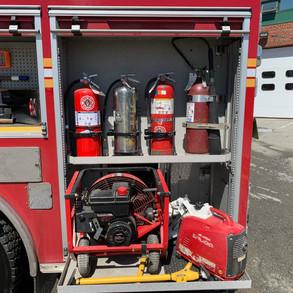 Extinguishers, PPV Fan, Generator with Scene Light, Door Spreader