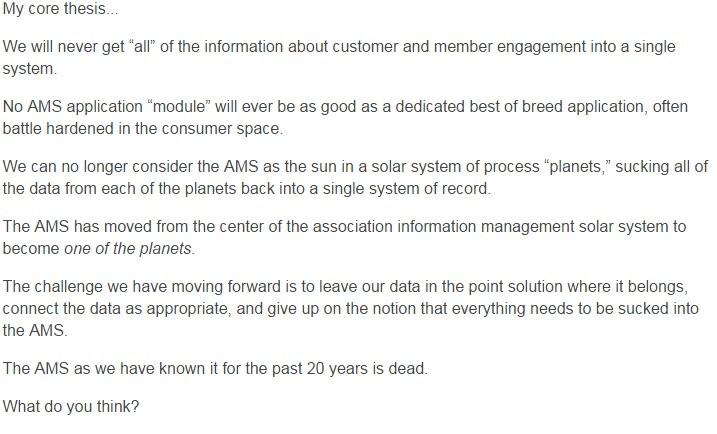 One Executive Director believes that the AMS Database is dead. We discuss here.