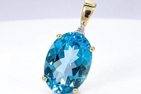 14kt Yellow Gold Swiss Blue Topaz and Diamond Pendant