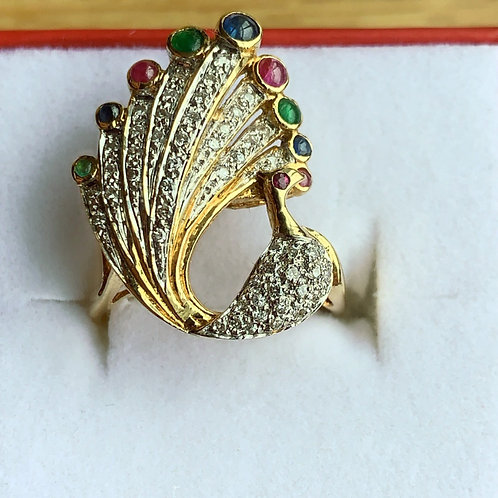 "18kt Yellow Gold ""Peacock""Ring"