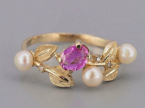 "14kt Yellow Gold Pink Sapphire ""Flower"" Ring"