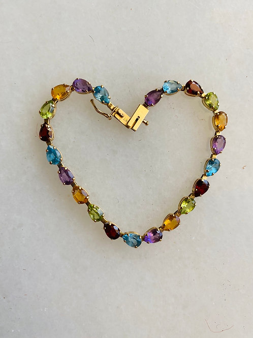 14kt Yellow Gold Multi Stone Bracelet