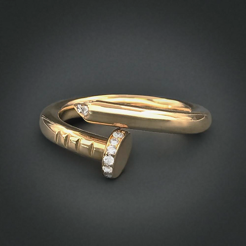 "18kt Yellow Gold Cartier inspired ""Just un Clou"" Diamond Ring"