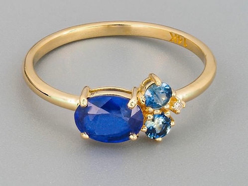 14kt Yellow Gold Blue Sapphire and Diamond Ring