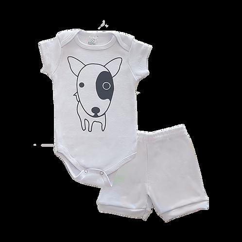 Conjunto Bebê 2 peças Body e Shorts Body e Shorts Branco Cachorro - Kappes