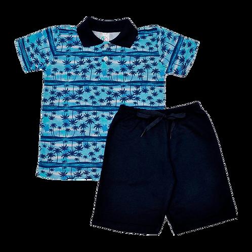 Conjunto bebê camisa Polo e bermuda Azul Marinho Coqueiros
