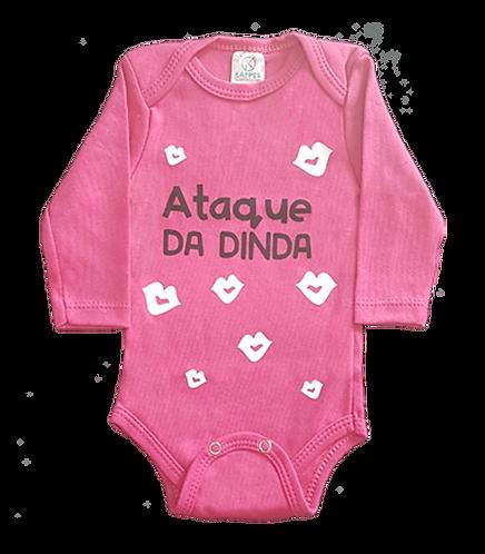 Body bebê Manga Longa Rosa - Frase Ataque da Dinda