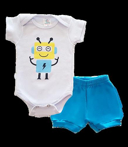 Conjunto Bebê 2 peças Body e Shorts Branco e Azul Robô - Kappes