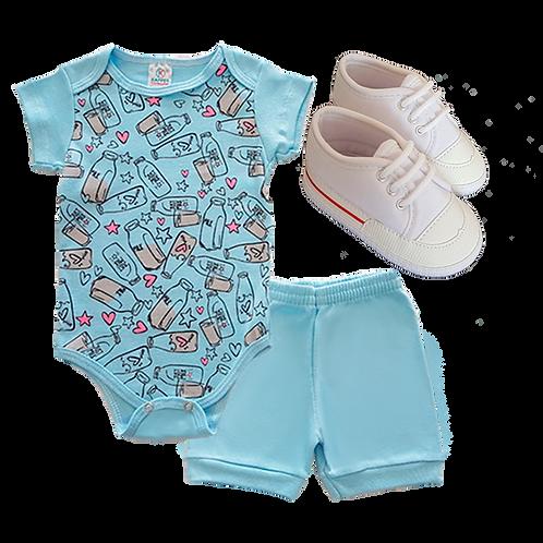 Conj. 2 peças Body e Shorts Azul Claro Milk + Tênis Bebê Masculino Branco