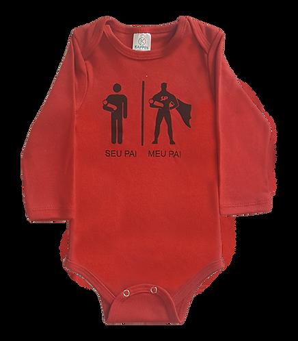 Body bebê Manga Longa Vermelho - Frase Seu Pai| Meu Pai- kappes