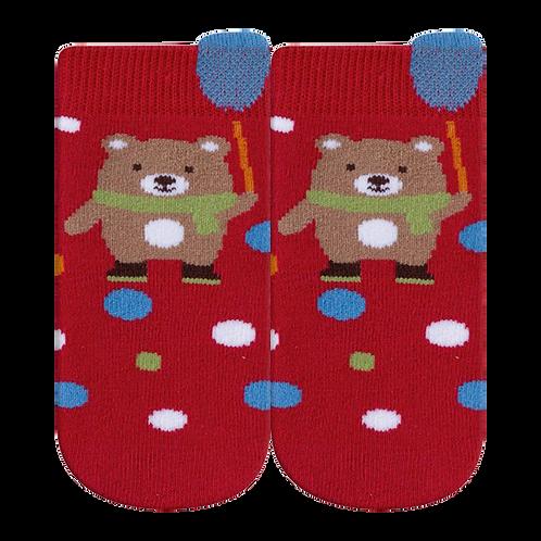 Meia Bebê Masculino Vermelha Urso de Cachecol (16-19)