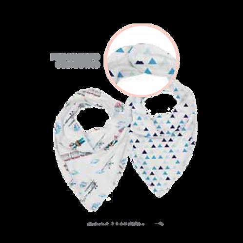 Babador Bandana Masculino Branco e Azul Estampado com Botão (2 un) - Baby Joy