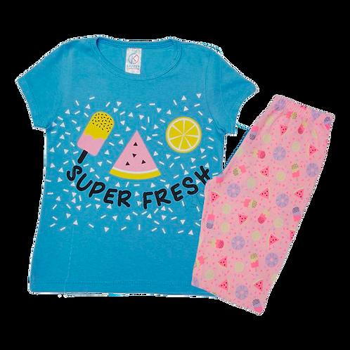 Conjunto Bebê Camiseta Manga Curta e Short Ciclista Azul Picolé
