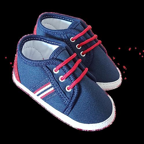 Tênis Bebê Masculino Azul e Vermelho Lona