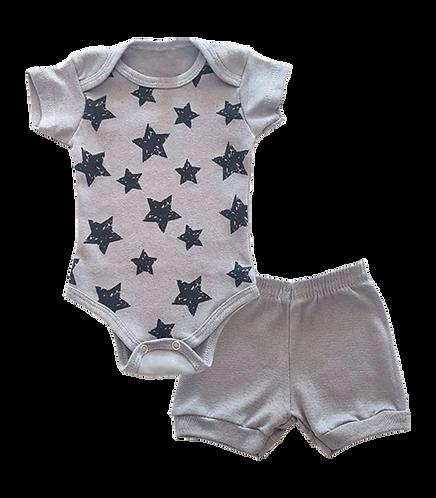 Conjunto Bebê 2 peças Body e Shorts Cinza Estrelas - Kappes