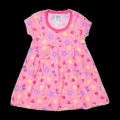 Vestido Bebê Manga Curta Cotton Rosa Picolé