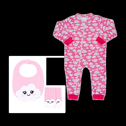 Macacão Bebê Manga Longo com Zíper+ Kit Babador e Meia Bebê Feminino Rosa Nuvem