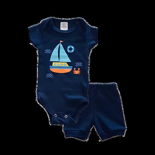 Conjunto Bebê 2 peças Body e Shorts Azul Marinho Jangada