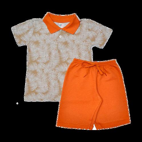 Conjunto bebê camisa Polo e bermuda Caramelo folhas
