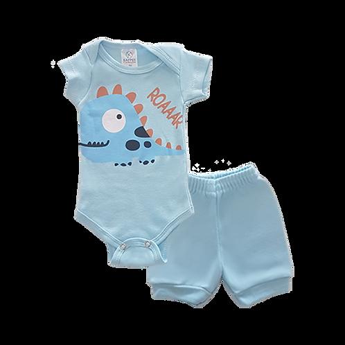 Conjunto Bebê 2 peças Body e Shorts Azul Dinossauro Baby - Kappes