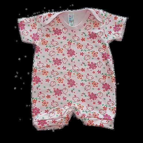 Banho de Sol Bebê Manga Curta Meia-Malha Rosa Pássaros e Flores - Flaphy