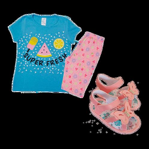 Conj Bebê Camiseta Manga Curta e Short Ciclista Azul Picolé + Sandália Bebê Rosa
