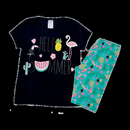 Conjunto Bebê Camiseta Manga Curta e Short Ciclista Marinho Tropical