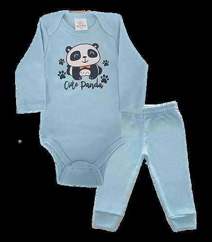 Conjunto Body Manga longa e Calça Azul Baby Panda - Kappes