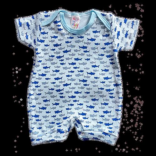 Banho de Sol Bebê Manga Curta Meia-Malha Azul Tubarões - Flaphy