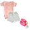 Thumbnail: Body Manga Curta Estampado Urso + Shorts Suedine Liso + Tênis Bebê Feminino Pink