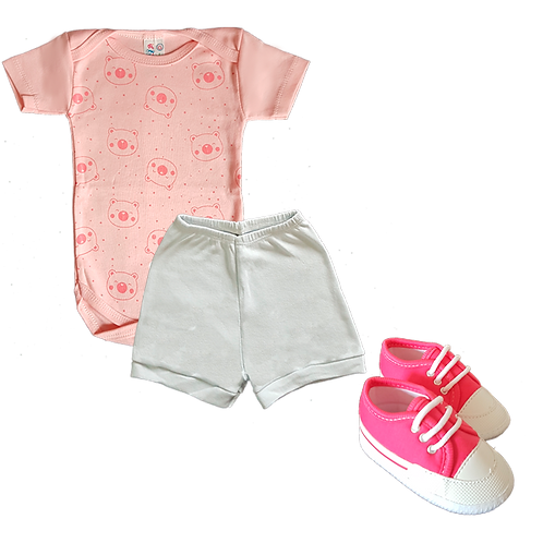 Body Manga Curta Estampado Urso + Shorts Suedine Liso + Tênis Bebê Feminino Pink