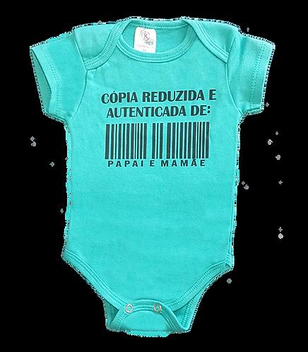 Body bebê Manga Curta Verde - Frase Copia reduzida e autenticada PAPAI e MAMÃE
